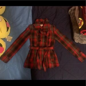 Bongo red plaid peacoat small